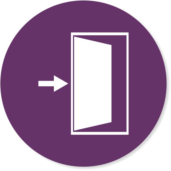 "Purple 4"" Round Enter / Exit Door Icon Decal"
