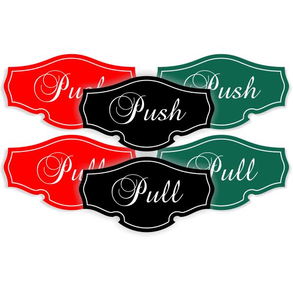 Push / Pull Classic Shape Decal Set