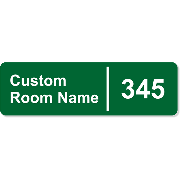 """Room Name and Number Sign with Raised Lettering - 3"""" x 10"""""""