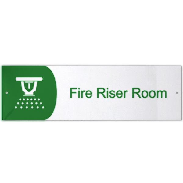"Fire Riser Room Icon Acrylic Print Sign - 3"" x 10"""