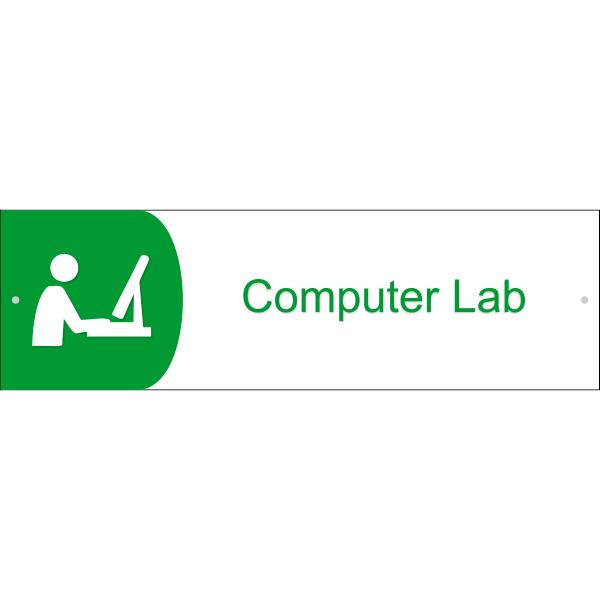 "Computer Lab Icon Acrylic Sign - 3"" x 10"""