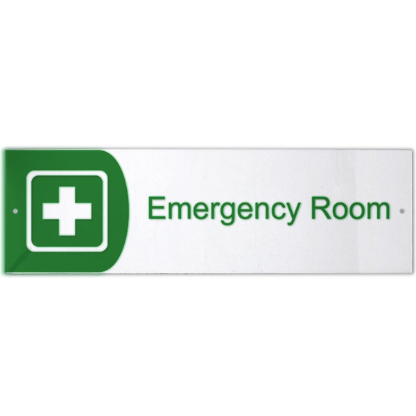 "Emergency Room Icon Acrylic Print Sign - 3"" x 10"""