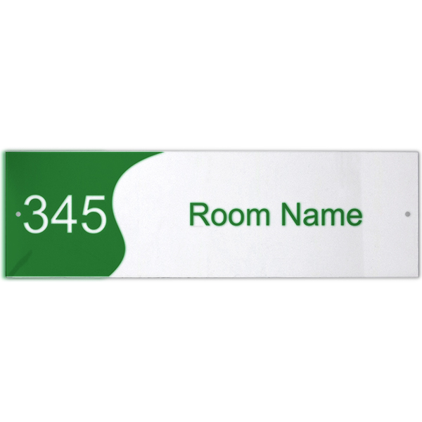 """Custom Text Room Name and Number 3"""" x 10"""" Acrylic Print Wave Sign"""