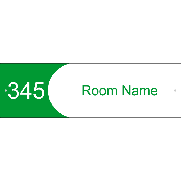 """Custom Text Room Name and Number Acrylic Sign Concave - 3"""" x 10"""""""