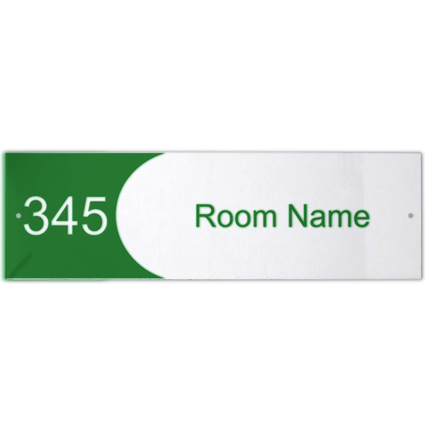 """Custom Text Room Name and Number Acrylic Print Sign Concave - 3"""" x 10"""""""