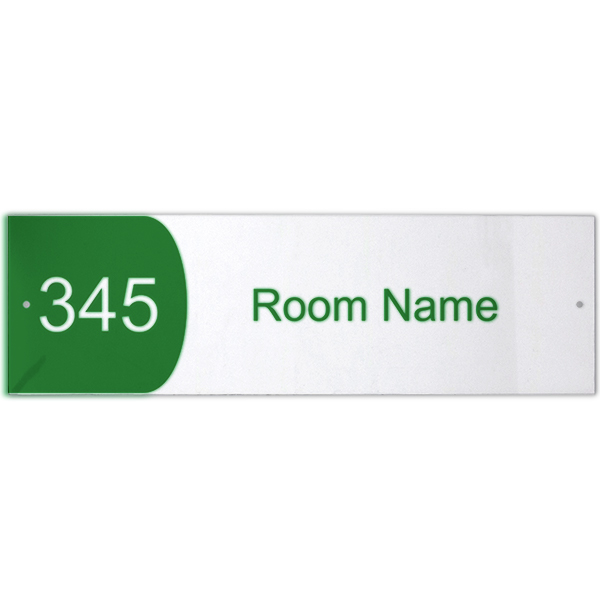 """Custom Text Room Name and Number Acrylic Print Sign Convex - 3"""" x 10"""""""