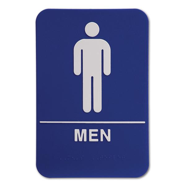 Blue ADA Braille Men's Restroom Sign