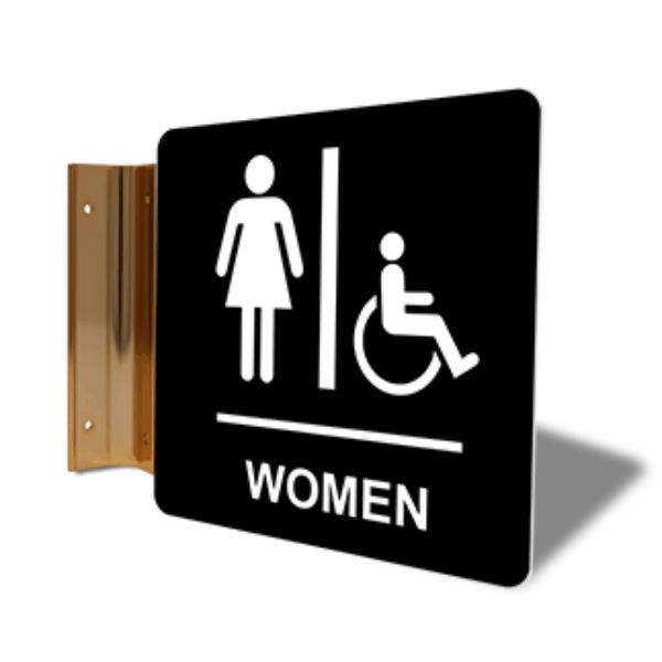 """Women's Handicap Restroom Corridor Sign   6"""" x 6"""""""