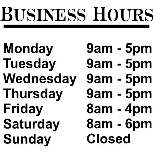 """Standard Business Hours Die Cut Door Decal   12"""" x 12"""""""