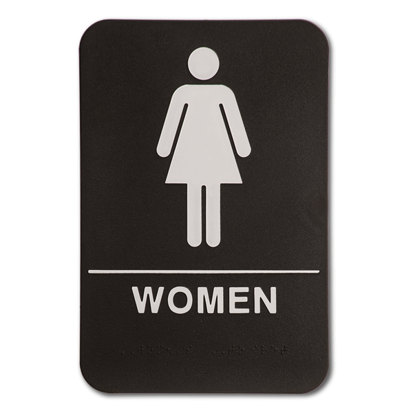 "Black Women's ADA Braille Restroom Sign | 9"" x 6"""