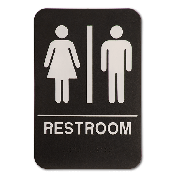 Black Unisex ADA Braille Restroom Sign