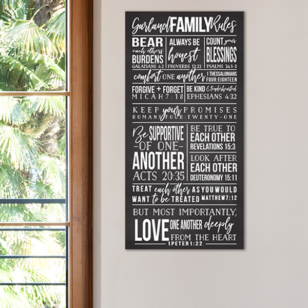 Personalized Family Rules Poster Sign Hung Up on a Wall Next to a Window