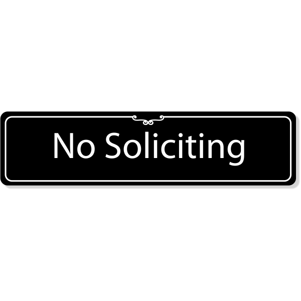 """Engraved Plastic No Soliciting Deco Border Sign   2"""" x 8"""""""