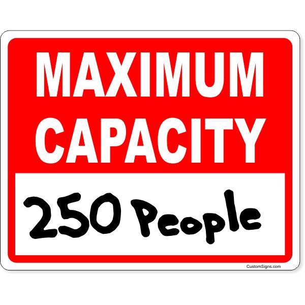 "Red Maximum Capacity Write On Sign   8"" x 10"""