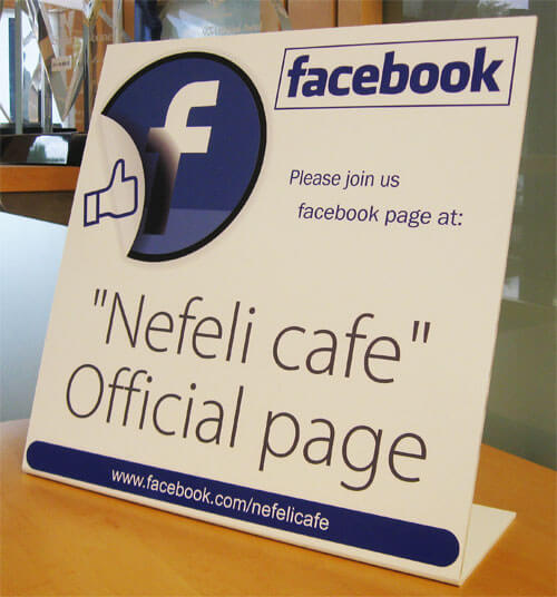 """12"""" x 12"""" Free-Standing Facebook Bent Sign Lifestyle Photo"""