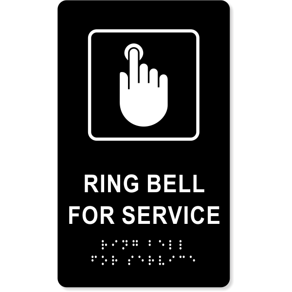 """Ring Bell For Service ADA Sign   10"""" x 6"""""""