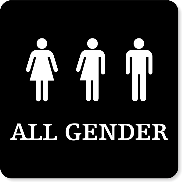 """All Gender Restroom Engraved Plastic Sign   6"""" x 6"""""""