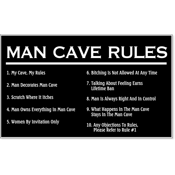 """Man Cave Rules Engraved Plastic Sign   6"""" x 10"""""""