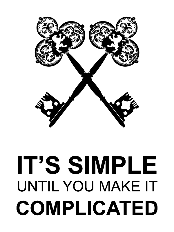 It's Simple Until Complicated White Poster Sign