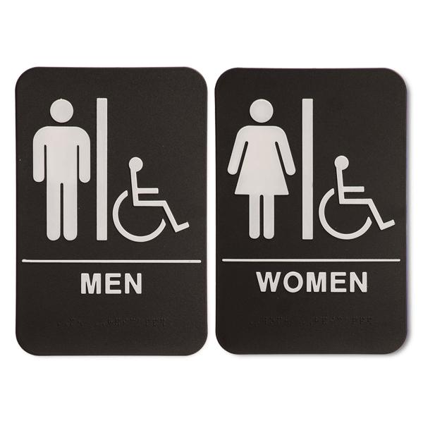 """ADA Braille Men's & Women's Handicap Restroom Sign Set 6"""" x 9"""" Black"""