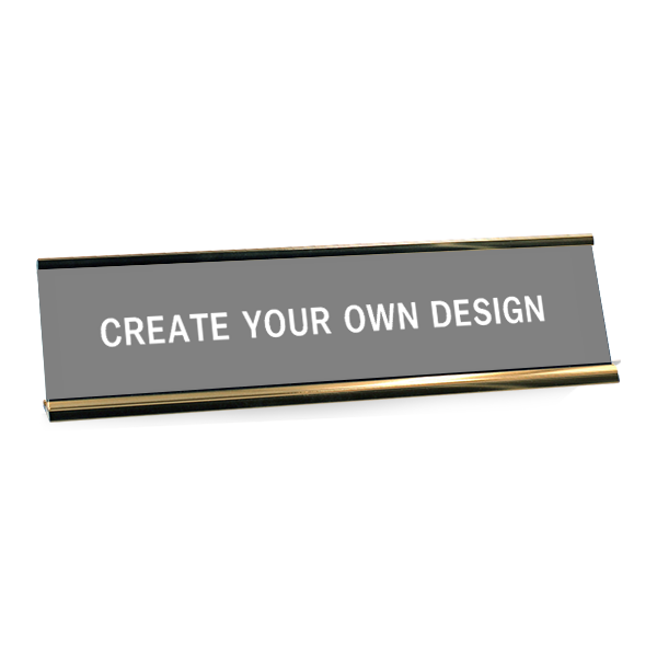Engraved Desk Plate with Aluminum Holder and Optional Logo
