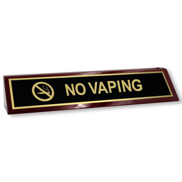No Vaping Wood Desk Block