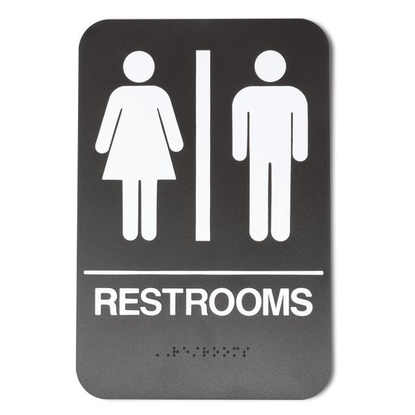 Brown Unisex ADA Braille Restrooms Sign