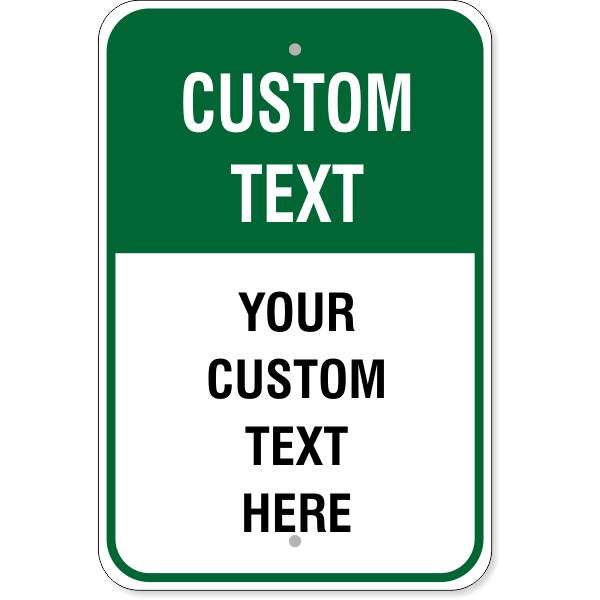 "6 Line Custom Text Green Background Aluminum Sign   18"" x 12"""