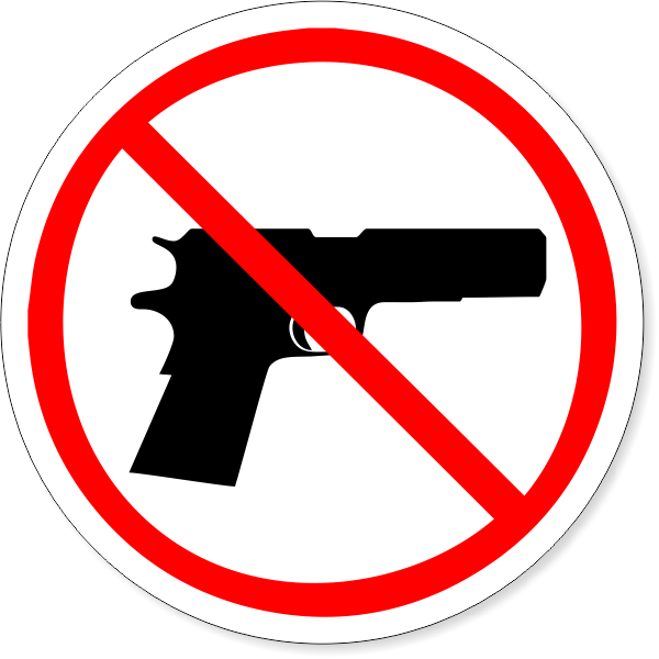 """6"""" Round No Firearm Decal"""
