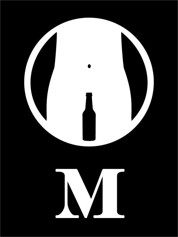 Engraved Rectangle Men's Bathroom Funny Beer Bottle Sign