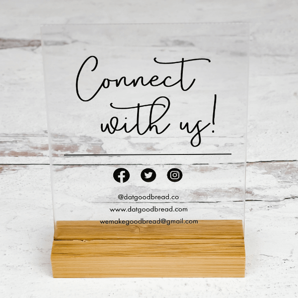Connect With Us Social Media Acrylic Sign