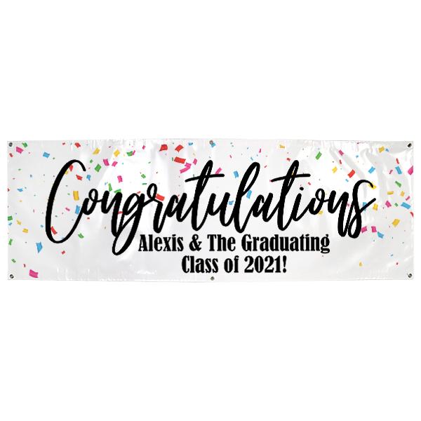 Personalized Confetti Graduation Banner   2' x 6'