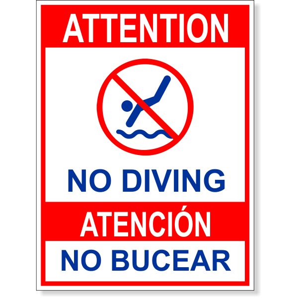 """Bilingual Attention No Diving Full Color Sign   8"""" x 6"""""""