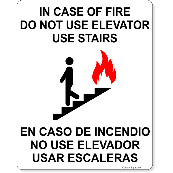 """Bilingual In Case of Fire Do Not Use Elevator Full Color Sign   10"""" x 8"""""""