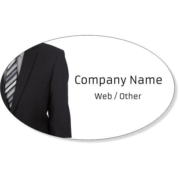 "Business Man Suit Oval Bumper Sticker | 3"" x 5"""