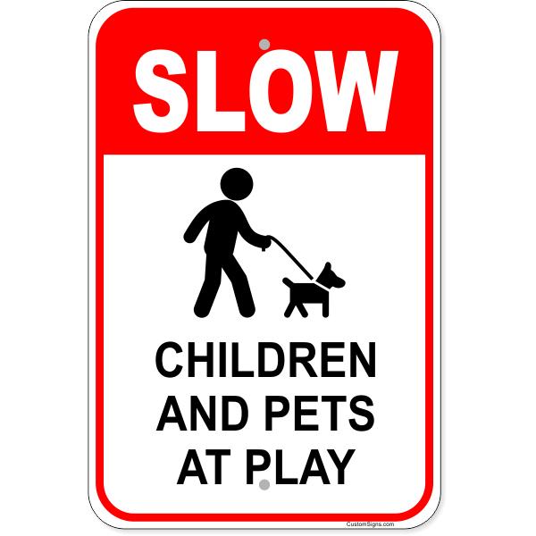 "Children Pets At Play Aluminum Sign | 18"" x 12"""