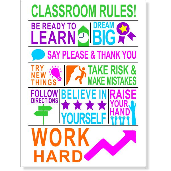 "Classroom Rules School Poster - 12"" x 18"""