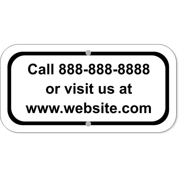 """Contact Information Aluminum Add-On Sign   6"""" x 12"""""""