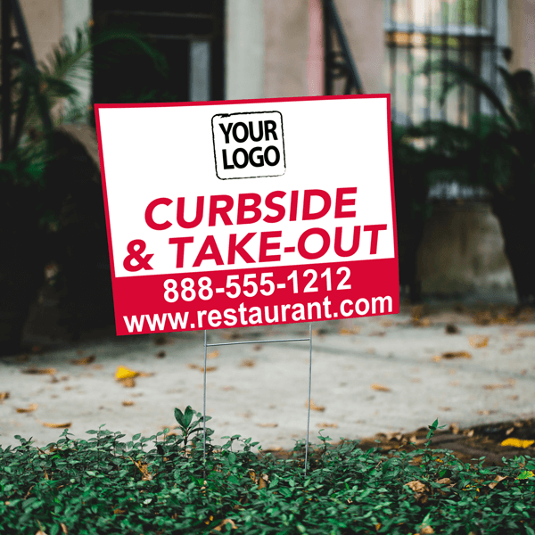 Upload Your Logo with Website Curbside and Take Out Yard Sign