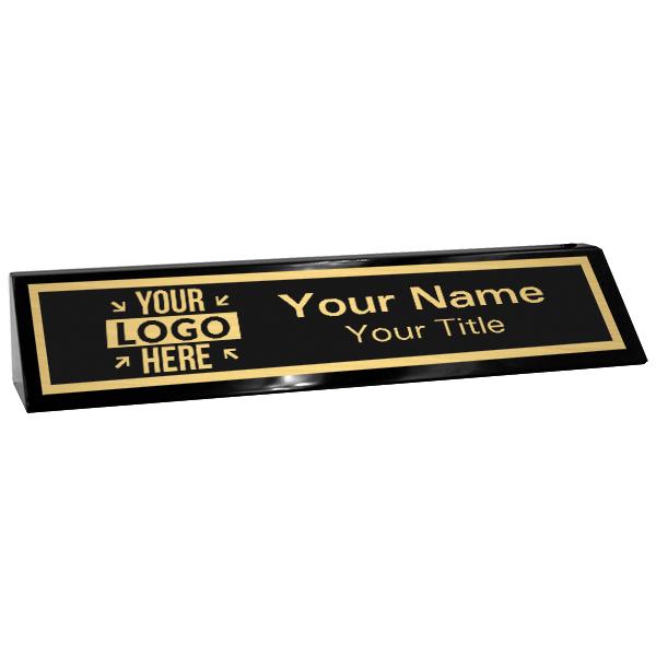 "Custom Black Desk Wedge with Black Plate and Logo   2"" x 10"""