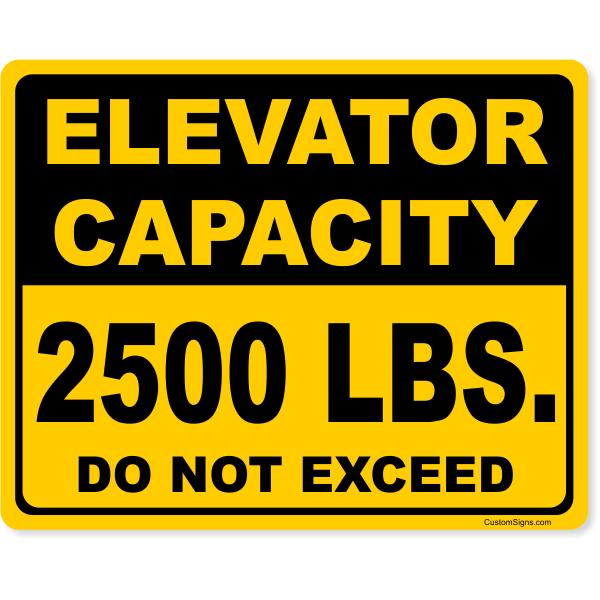 "Custom Elevator Capacity Full Color Sign   8"" x 10"""