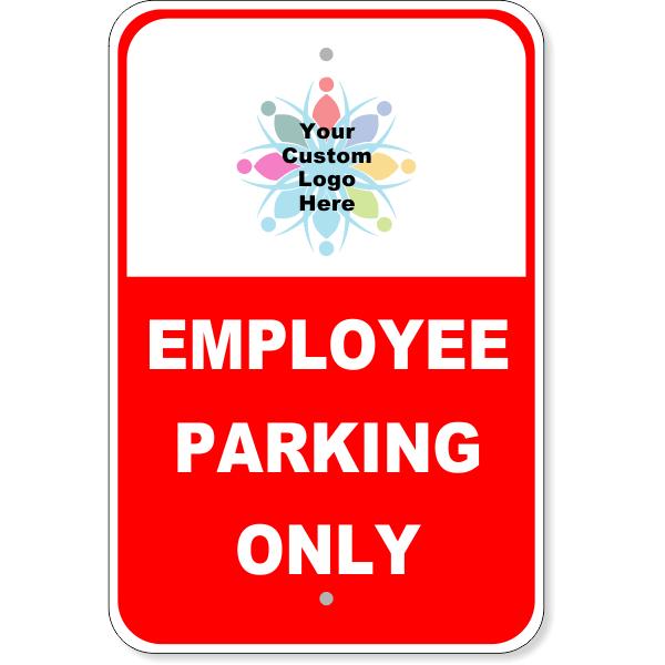 "Custom Logo Red Employee Parking Aluminum Sign | 18"" x 12"""