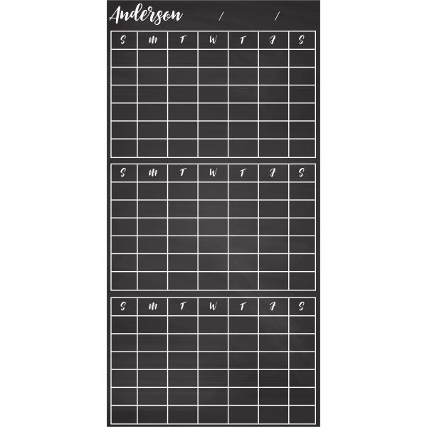 Customized 3-Month Calendar Chalkboard