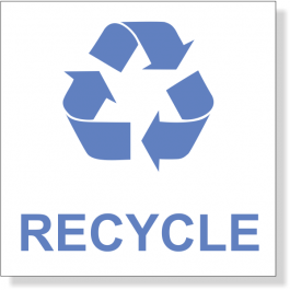 """3"""" x 3"""" Blue Recycle Decal"""