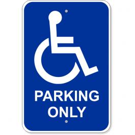 "Handicap Parking Only 18"" x 12"" Aluminum Sign"