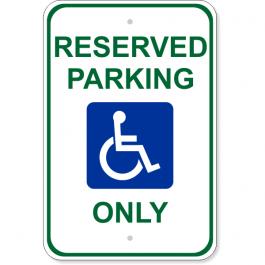 "Handicap Reserved Parking 18"" x 12"" Aluminum Sign"