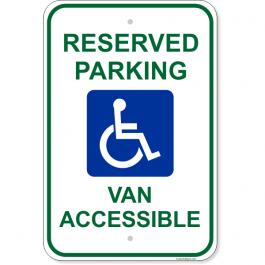 """Handicap Van Accessible 18"""" x 12"""" Aluminum Sign"""