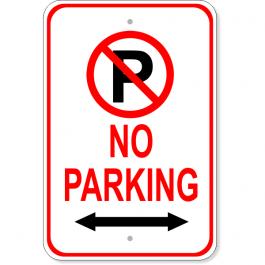 "No Parking Both Directions 18"" x 12"" Aluminum Parking Sign"