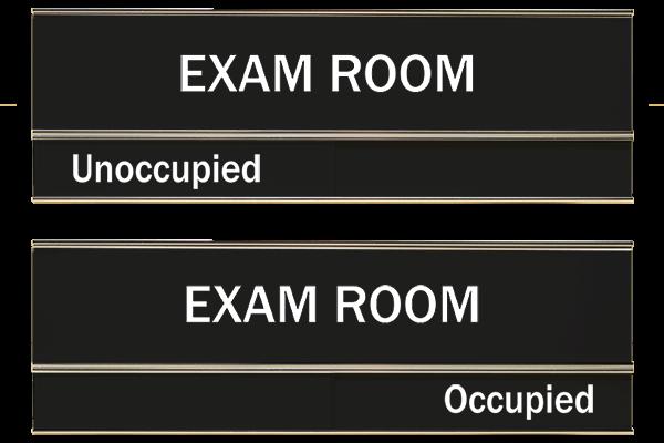 "Black Exam Room Slider Signs 3"" x 8"""