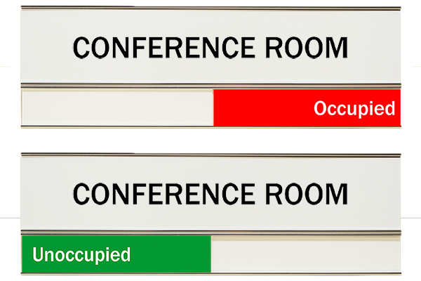 """White Conference Room Slider Signs 3"""" x 8"""""""